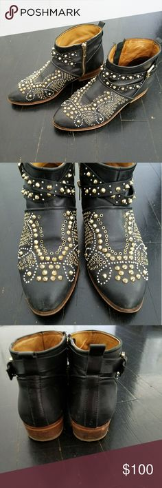 Zara Studded Leather Ankle Moto Boots 38 Awesome! Great condition ..minor scuffing by toes see pics Zara Shoes Ankle Boots & Booties