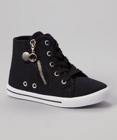 This Black Star Zipper Hi-Top Sneaker is perfect! #zulilyfinds