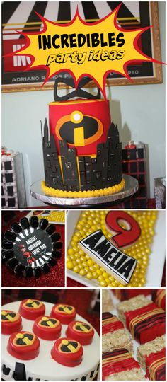 "What an ""Incredible"" birthday party!  Lots of amazing themed treats! See more party planning ideas at CatchMyParty.com!"