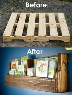 If you want to make a DIY bookshelf, here's a great idea. Get a pallet and turn it into a bookshelf yourself! (that rhymes). It's easy enough. You can stain the wood when you're done cutting it. And you can make multiple shelves from one pallet! Give it a try!