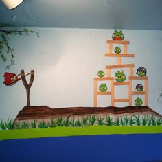 Angry birds mural kids bedroom!