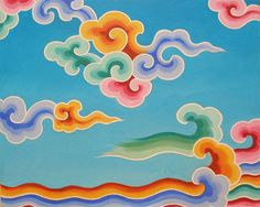 Copyright Tashi Mannox - tashimannox.com - Rainbow Cloud Study  51x61 cm 2006.  Acrylic on stretched canvas    A study of typical Tibetan rainbow clouds, that feature in Thanka painting, temple decoration and silk brocades.