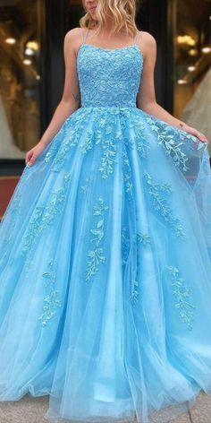 2020 Blue Tulle Appliques Prom Dress with Beadings Fashion Long Spaghetti Straps Evening Gowns Custom Made Long School Dance Dress Women's Pagent Dresses Grad Dresses Long, Pretty Prom Dresses, Prom Dresses For Teens, Long Prom Gowns, Sweet 16 Dresses, Prom Dresses Blue, Homecoming Dresses, Formal Dresses, Bridesmaid Dresses