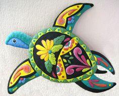 Turtle 21  Hand Painted Metal  Garden Art  por TropicAccents