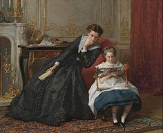 La leçon de broderie. Huile sur toile de Gustave Léonhard de Jonghe (belge 1829 - 1893)