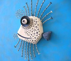 Black and White Guppy Original Found Object Wall by FigJamStudio