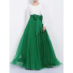 Stylish Solid Color High-Waisted Women's Voile Skirt, only $7.21, maxi skirt, retro style, vintage silhouette, bow detail, summer style, bohemian