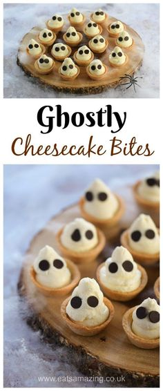 Fun and easy Halloween dessert - cute Ghostly mini cheesecake bites recipe - great for Halloween party food - Eats Amazing UK #Halloween #HalloweenFood #EasyRecipe #Cheesecake #FunFood