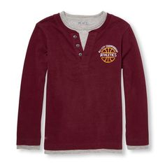 Christmas 2016 gift for our handsome grandson.  Boys Long Sleeve Athletic Graphic Faux-Layered Henley. Size 5/6