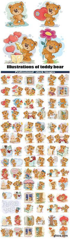 Clip art illustrations of teddy bear