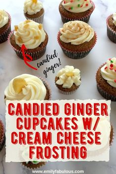 These Candied Ginger Cupcakes with Cream Cheese Frosting are the perfect dessert for any holiday celebration. This recipe is made from scratch using clove, cinnamon, applesauce, and candied ginger in the batter, these cupcakes are nice and moist with a hint of spice! Make your own candied or crystallized ginger! The perfect Christmas Cupcake, Holiday Dessert, or Gingerbread you can make! #holidaydessert, #christmascupcakes, #holidaycupcakes, #gingerbread, #candiedginger