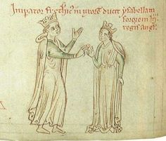 Medieval manuscript depicting the marriage of Isabella of England to Frederick II, daughter of King John I, 13th Century. - Pictify - your social art network