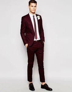 Mens Slim Fit Suit Maroon Wine Burgundy 3 Piece Work Occasional or ...