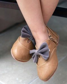 Bow Cutout Shootie Flats ~ Light Brown Over The Loom Children's Boutique