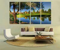 Pf4018 impresso e interno emoldurado 4 painel de pintura a óleo na parede da lona de arte quadros para decoração de casa tranquila lago arredondado árvores