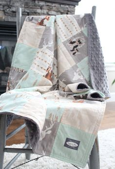 This listing is for a patchwork blanket - Patchwork Blanket - 34 x 44 backed with grey minky - fabrics pictured in woodlands animals, mint, grey