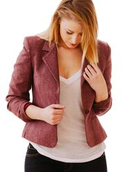 "The Petite Shop - Maroon Petite Blazer [Vintage], $65.00. Available in women's size 6P, or modern size small petite. Model is 5' 3""! Petite Tops, Tweed Blazer, 5 S, Leather Jacket, Sweaters, Jackets, Shopping, Vintage, Ideas"