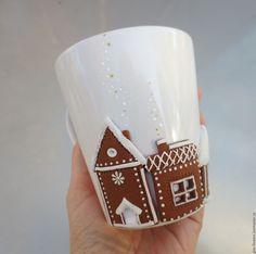 Купить Кружка Пряничный городок с декором из полимерной глины - белый, кружка, пряничный городок