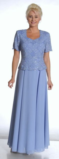 Classic Elegant Mother of Bride Groom Long Formal Plus Size Short Sleeve Dresses