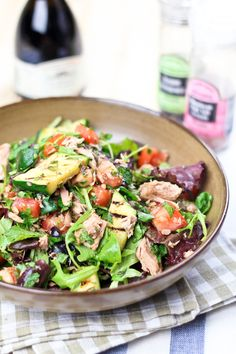Quick, Healthy and Super Simple Tuna Fish Salad.  If you need to reduce your sodium intake, use the low sodium canned water packed tuna and leave out the additional salt the recipe calls for.