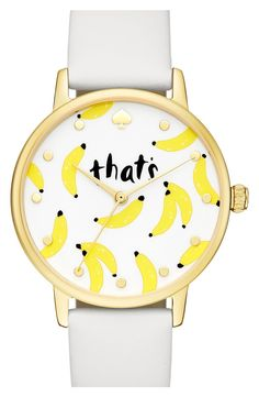 Going bananas for this adorable watch from Kate Spade! The tiny graphic bananas are just too cute.