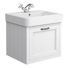 SHOP the Chatsworth Traditional White 1 Drawer Wall Hung Vanity at Victorian Plumbing UK Bathroom Vanity Units, Wall Mounted Vanity, Bathroom Furniture, Small Bathroom, Bathroom Ideas, Family Bathroom, Bathroom Inspiration, White Vanity Unit, Gray Vanity
