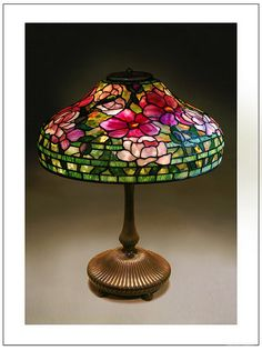 sotheby's lot 345 A Tiffany favrile glass and bronze peony lamp, Stained Glass Lamp Shades, Tiffany Stained Glass, Tiffany Glass, Stained Glass Art, Louis Comfort Tiffany, Art Nouveau, Antique Lamps, Vintage Lamps, Lampe Art Deco