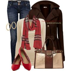 """Red Flats & Fossil"" by casuality on Polyvore"