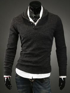 Korean Style Turn-down Collar Buttons Embellished Long Sleeves Cotton Blend Sweater For Men