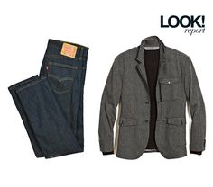 Two staples for menswear this fall: A jacket sweater and a classic pair of Levis