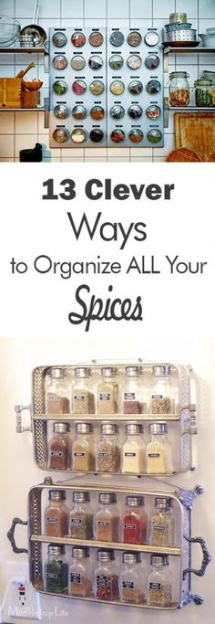 13 Clever Ways to Organize ALL Your Spices - 101 Days of Organization Spice Organization, Storage Hacks, Kitchen Decor Themes, Easy Home Decor, Organizing Your Home, Kitchen Storage, Pantry Shelving, Pantry Storage, Fixer Upper
