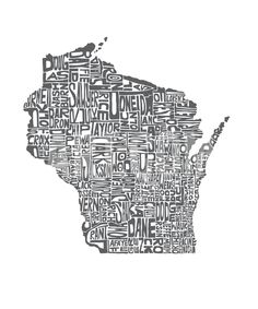 Typographic Wisconsin Charcoal Premium Giclee Print by CAPow at Art.com