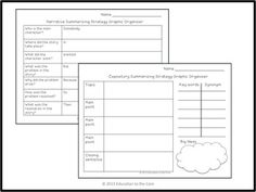 FREE SUMMARIZING STRATEGY POSTERS AND GRAPHIC ORGANIZERS [EDUCATION TO THE CORE] - TeachersPayTeachers.com