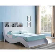 Tara White Platform Bed with Headboard (Queen) Bedroom Furniture Stores, Bed Furniture, Furniture Deals, Best Storage Beds, Daybed With Storage, Storage Shelves, White Platform Bed, Best Platform Beds, Full Size Bed Dimensions