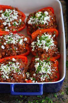 Greek Stuffed Peppers with Feta Cheese Recipe | Cookin' Canuck