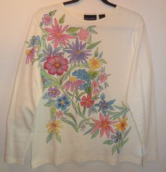 She should charge more for this gorgeous shirt.  Hand Painted Long Sleeve Garden Flowers Knit by heartbridge, $24.00