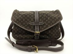 Louis Vuitton Auth Monogram MINI Lin Ebene Saumur 30 Cross Body Shoulder Bag LV #LouisVuitton #Crossbody Louis Vuitton Shoulder Bag, Cross Body, Louis Vuitton Monogram, Backpacks, Purses, Mini, Pattern, Leather, Bags