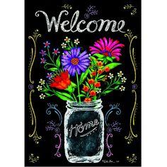 Custom Decor Flag - Wildflower Jar Decorative Flag at Garden House Flags. Like the chalkboard look Blackboard Art, Chalkboard Writing, Chalkboard Drawings, Chalkboard Lettering, Chalkboard Designs, Chalkboard Ideas, Summer Chalkboard Art, Chalkboard Pictures, Black Chalkboard