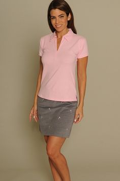 Light Pink & Pink Martinis Golftini Ladies Golf Outfits (Shirt & Skort), as fabulous as the advance design and slimming fit, allowing for you to keep cool on the course, at the gym, or simply while running errands! #golf