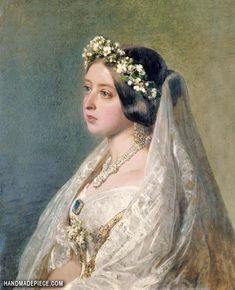 In Victoria commissioned Franz Xaver Winterhalter to paint a portrait of her wearing her wedding clothes as an anniversary present for Prince Albert. The portrait was also copied as an enamel miniature by John Haslem. The Young Victoria, Queen Victoria Family, Queen Victoria Prince Albert, Victoria And Albert, Queen Victoria Wedding Dress, Victoria Bride, Franz Xaver Winterhalter, Grace Kelly, Princesa Beatrice