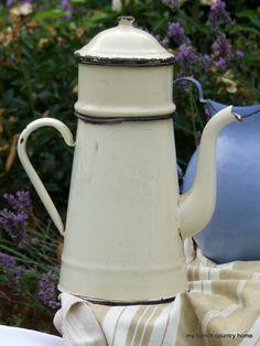 French enamel coffee pot.
