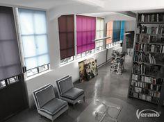 Effen kleuren #rolgordijnen brengen eenheid in een #interieur.