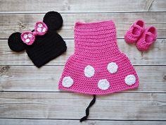 Komplet szydełkowy - Minnie Mouse- sesja foto - CudaWianki-Anna - Czapeczki dla niemowląt