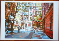 NYC Art Wall Decor Large 12x16 Art Print New York by GwenMeyerson, $45.00 New York Cityscape, America Images, Nyc Art, New York Art, Greenwich Village, East Village, Colorful Paintings, Large Prints, Wall Art Decor
