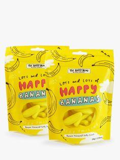 Buy Happy News Happy Bananas Jelly Sweets, Set Of 2 bundle from our Gift Food & Alcohol range at John Lewis & Partners. Banana Jelly, Banana Chips, Frozen Banana, Chip Packaging, Food Packaging, Packaging Design, Fish Snacks, Banana Bites, Happy Pills