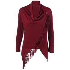 Fringe Asymmetrical Cardigan ($16) ❤ liked on Polyvore featuring tops, cardigans, fringe tops, cardigan top, red cardigan, asymmetrical cardigan and red top