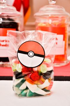 Pokemon Party candy. Print out pokeball to put on bags.