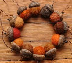Orange Felted Wool Acorns, Set of 12. $24.00, via Etsy.
