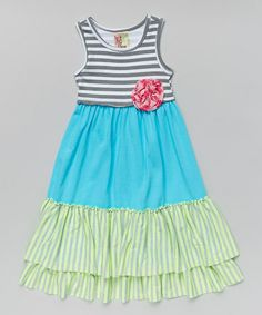 Another great find on #zulily! Gray & Turquoise Stripe Tiered Dress - Girls #zulilyfinds