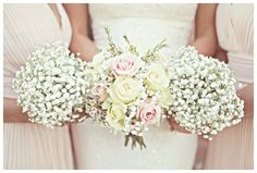 Gorgeous gypsophilia bouquet for the bridesmaids and a rose bouquet for the bride! www.jordanfoxphotography.co.uk